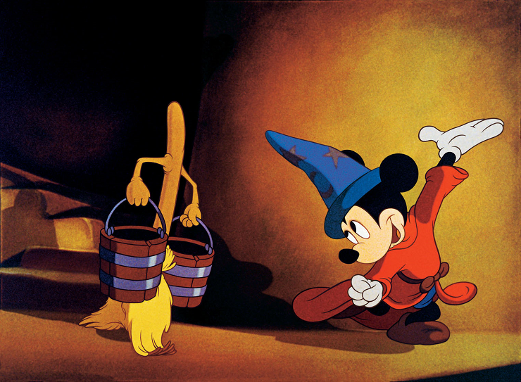 Mickey Mouse al ritmo de la música de Paul Dukas.