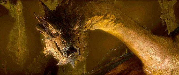 Smaug, el temible dragón que custodia la ciudad subterránea de Erebor.