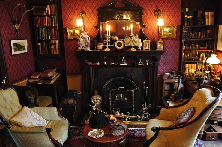 Interior del despacho de Sherlock Holmes en el 221B  de Baker Street.