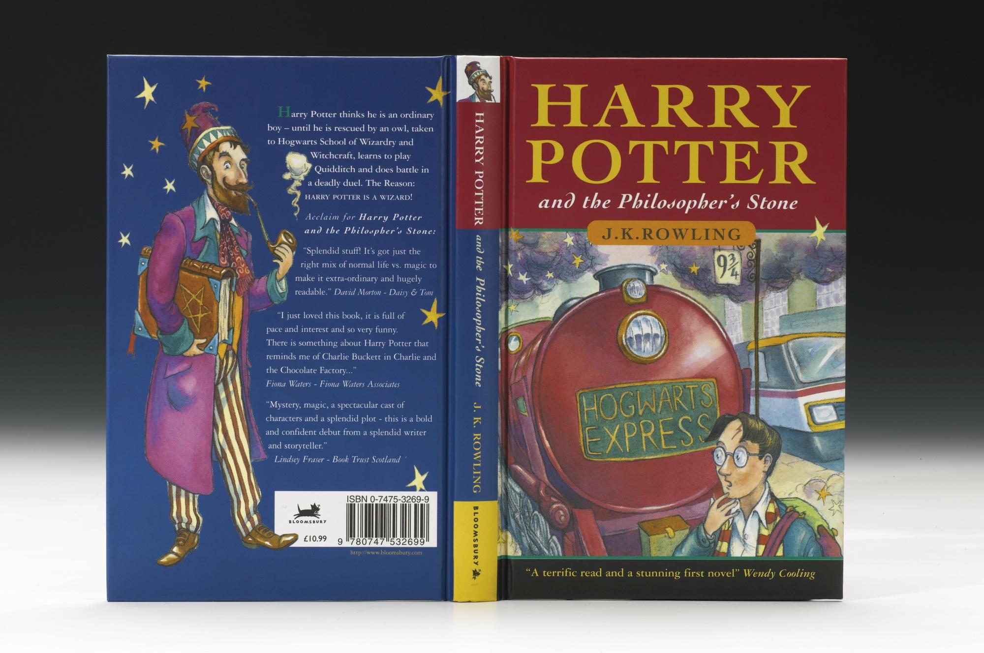 """Portada de una de las primeras ediciones de """"Harry Potter y la Piedra Filosofal""""."""