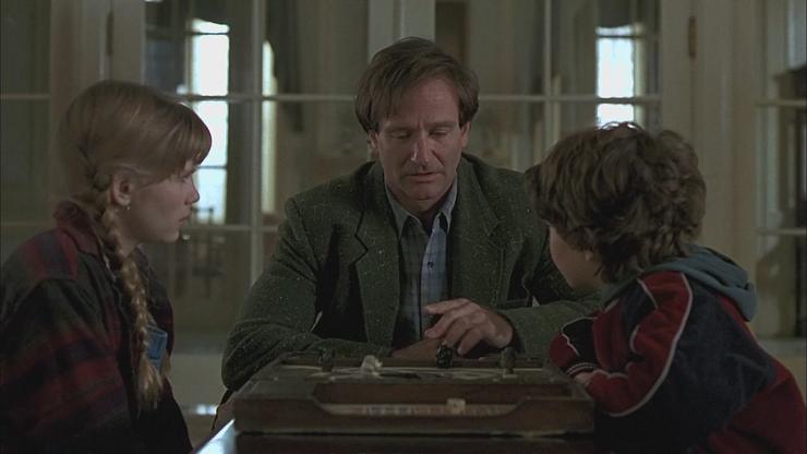 En la película original de Jumanji, Alan Parris era rescatado por dos niños durante una partida.