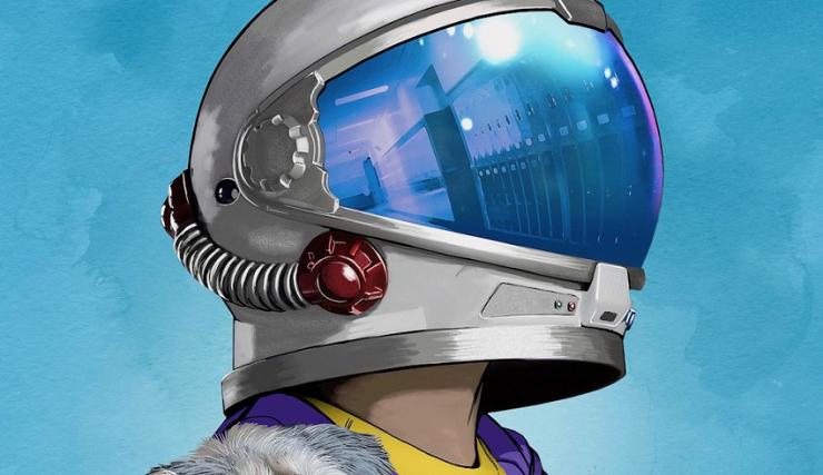 Auggie encuentra su protección bajo un casco de astronauta.