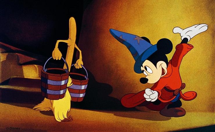 """""""El aprendiz de brujo"""" con música de Paul Dukas es la secuencia más celebrada de """"Fantasía""""."""