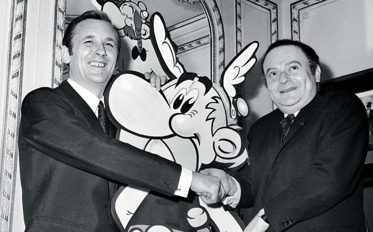 René Goscinny y Albert Uderzo con su creación más famosa